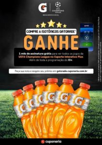 GATORADE lança promoção para os fãs de UEFA Champions League