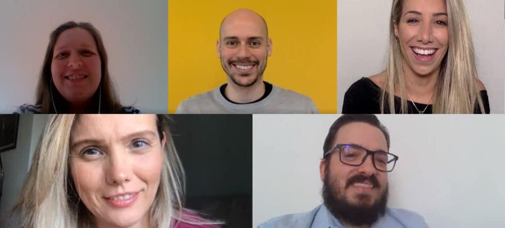 Mídia da F.biz - Da esquerda para direita, Daniele Barbieri, Eduardo Couto, Gabriela Amato, Carolina Buzetto (abaixo) e Marcelo Carvalhaes.