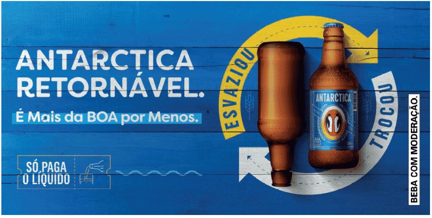 Cerveja Antarctica estimula o uso de garrafas retornáveis.
