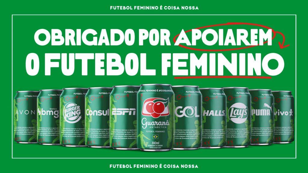 Grandes marcas se unem à Guaraná Antarctica em apoio ao futebol feminino.
