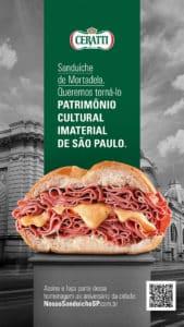 Ceratti pede tombamento cultural de sanduíche de mortadela.
