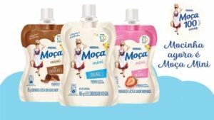 Nestlé lança Moça Mini em três sabores: original, chocolate e morango.