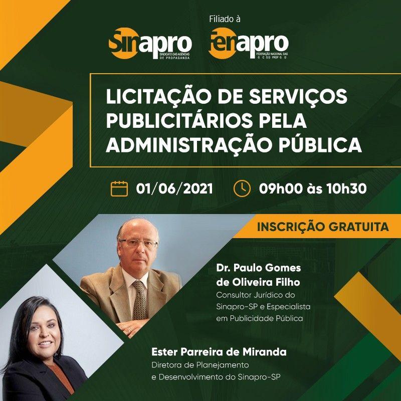 """Sinapro-SP promove palestra online """"Licitação de Serviços Publicitários pela Administração Pública"""""""