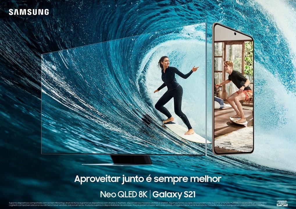 Samsung mostra combinação das TVs e Galaxy