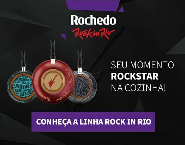 Rochedo cria uma nova linha oficial de frigideiras celebrando sua parceria com o Rock in Rio, com personalização em homenagem ao evento