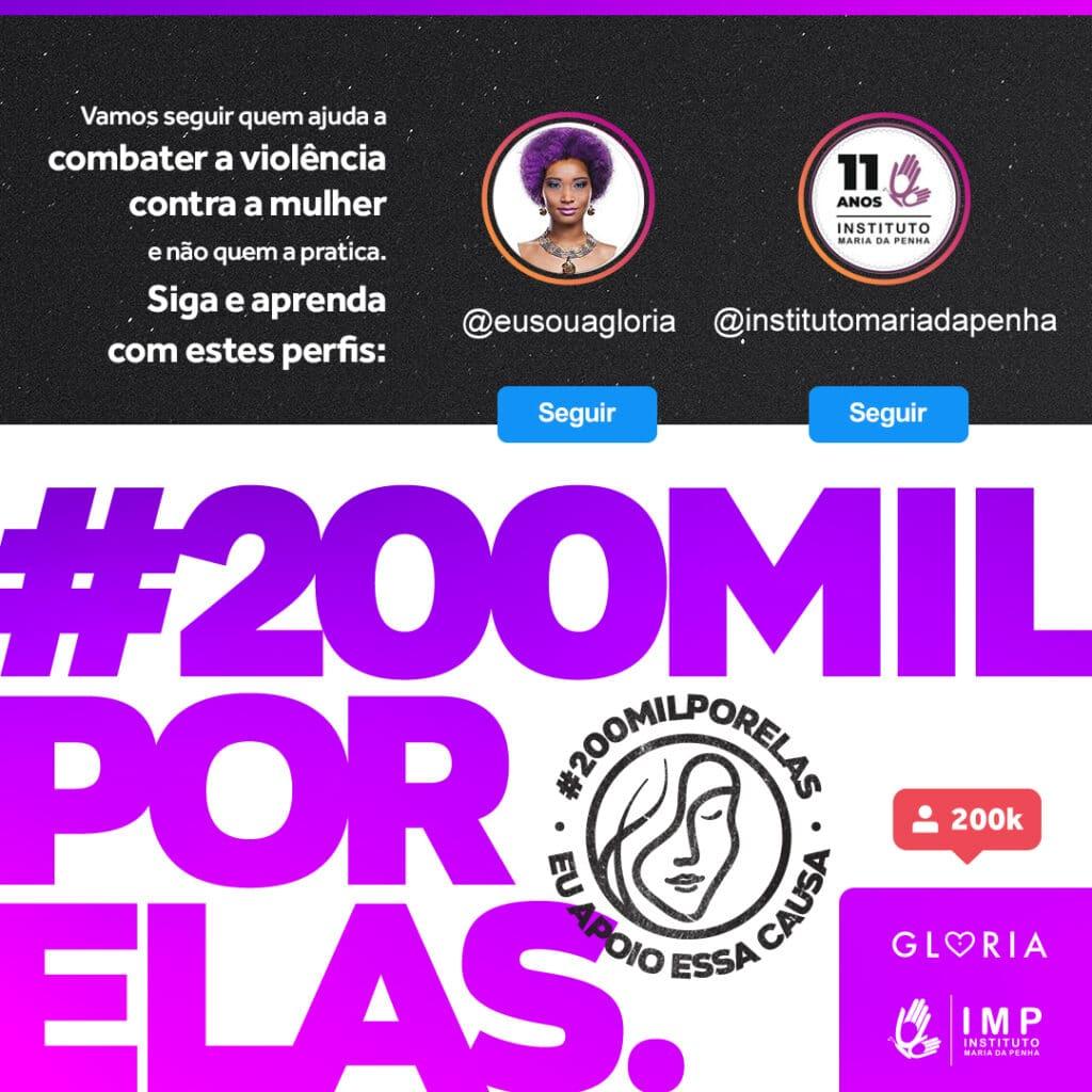 Instituto Glória e Instituto Maria da Penha lançam movimento em combate à violência contra mulheres.
