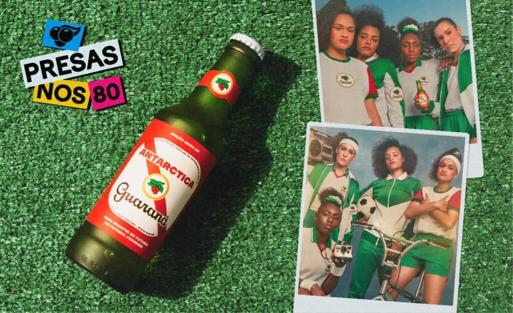 Guaraná Antarctica apoia o movimento #presasnos80 e cria garrafa retrô com 100% da renda revertida para o futuro do futebol feminino
