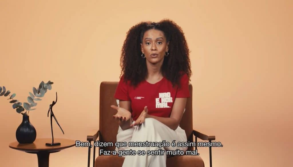 Taís Araujo estrela campanha para falar sobre fluxo menstrual.